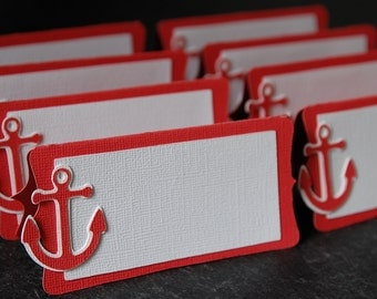 Anchor Place Cards, Anchor Food Labels, Nautical Party Supplies, Nautical Place Cards, 12 Pcs