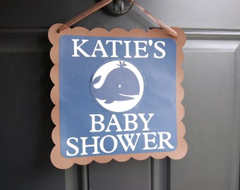 Whale Door Sign, Whale Baby Shower, Whale Party Supplies, Whale Theme,