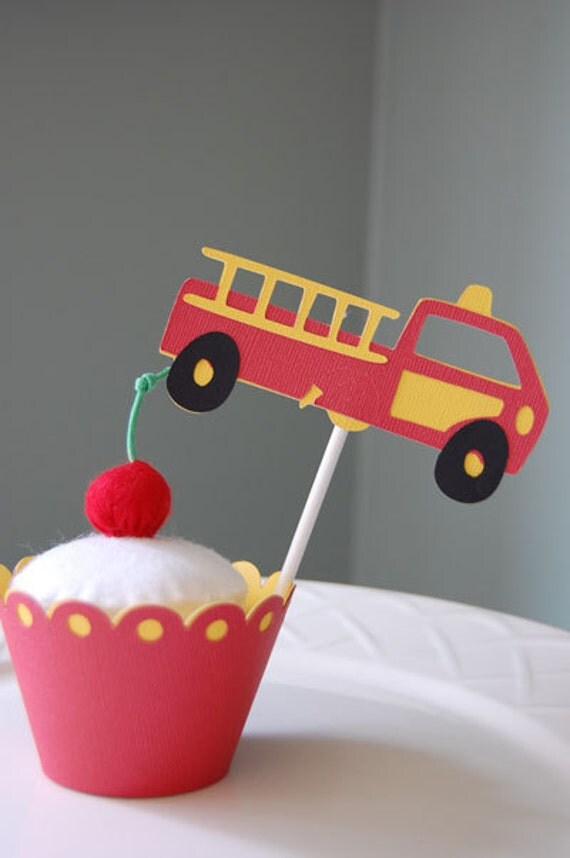 Items similar to Fire Truck Cupcake Toppers and Cupcake ...