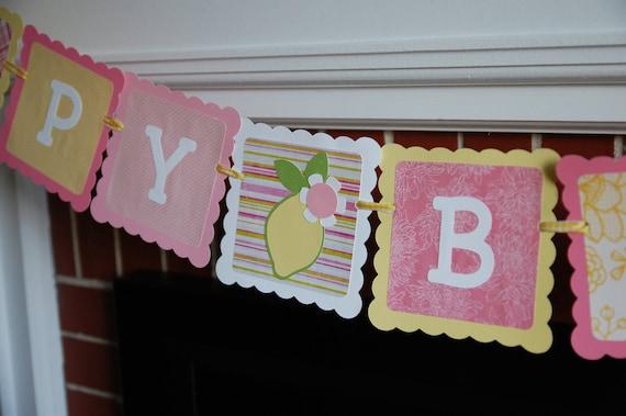 Pink Lemonade Happy Birthday Banner, Lemon Theme, Pink Lemonade Birthday Party