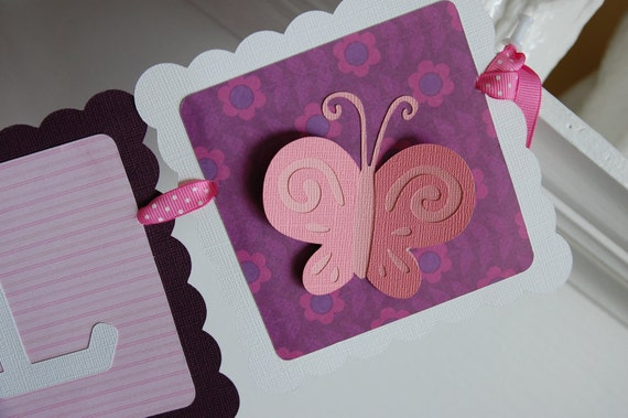 Butterfly It's a Girl Banner Butterfly Baby Shower by GiggleBees