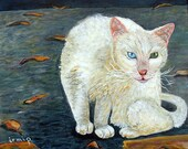 White Cat Painting Original Cat Painting Kitty Painting