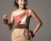 Earth Tone Suede And Leather Dress With Gabardine Skirt.