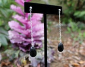 Long Dangly Post Earrings - Long Chain with black Swarovski crystal - 925 Sterling Silver Post - Affordable Going Out Earrings