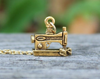 Sewing Machine Necklace - Crafty Girl in Antiqued Gold