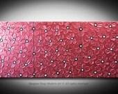 Red Flower Painting - HUGE 60x24 - High Quality Original 3 Piece Sculptural Modern Fine Art