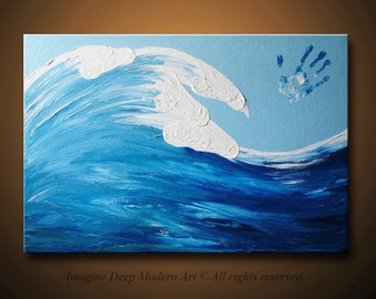 Ocean Wave Painting Blue Light Sky White Horses Large 36x24 High Quality Original Finger Painting Modern Fine Art
