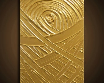 Painting Gold Yellow Abstract Acrylic Sculpture The Golden Rule Creation 24x18 High Quality Original Modern Fine Art