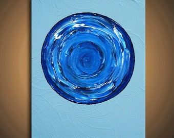 "The World Runs You - Blue Ocean Painting, Light blue, White - 8""x10"" High Quality Original Finger Painting Modern Fine Art"