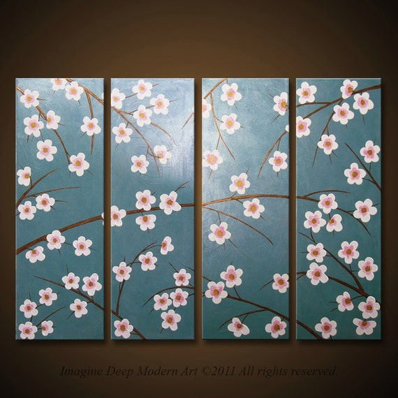 Large 30x40 High Quality 4 piece Finger Painting - Calming and Beautiful - Blossoming Time