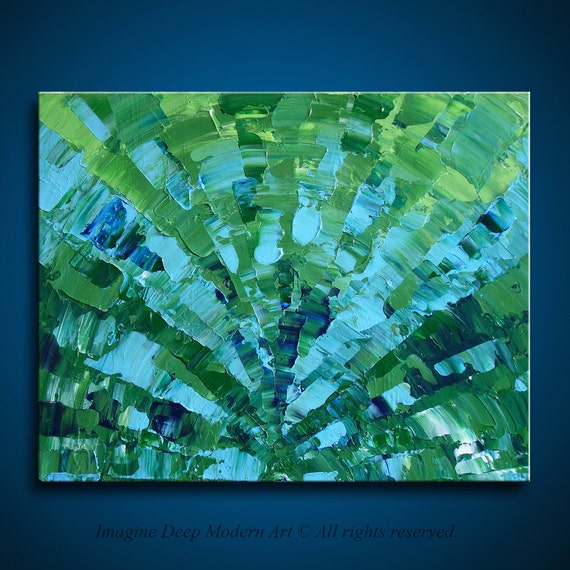 Painting Green Blue Abstract Acrylic - All Heart - Chakra - Light Green Light Blue - 18x14 High Quality Original Art