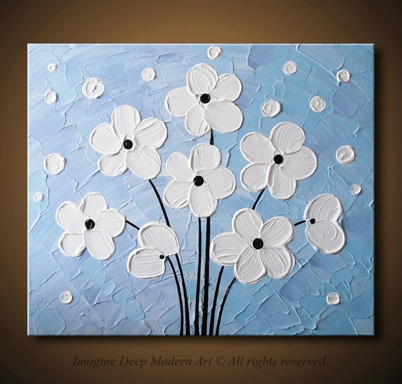 White Flowers Painting Light Blue Purple Lavender - Abstract Acrylic Floral - 24x20 High Quality Original Modern Fine Art