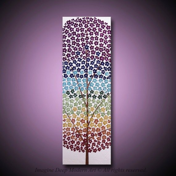 30x10 High Quality Original Art - Vibrant Metallic Paints - Grounded, Beautiful, and Strong - Chakra Blossom Rainbow Tree