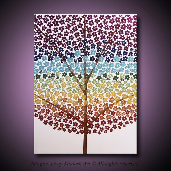 24x18 High Quality Original Art - Ready to Ship - Vibrant Metallic Paints - Grounded, Beautiful, and Strong - Chakra Blossom Tree