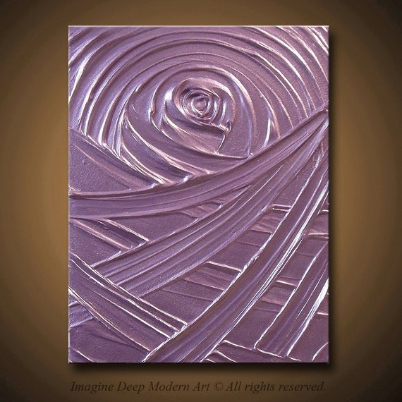Purple Painting Light Purple, Lavender - Abstract Acrylic Sculptural - Healing Amethyst Creation - 11x14 High Quality Original Fine Art