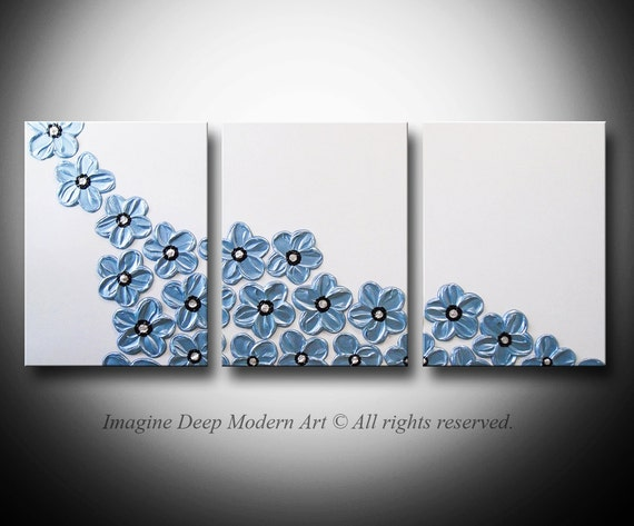 HUGE 54x24 - High Quality Original Art - Beautiful 3 Piece Sculptural Impasto Painting -  Pearl White, Black, Light Blue - Peaceful Rise