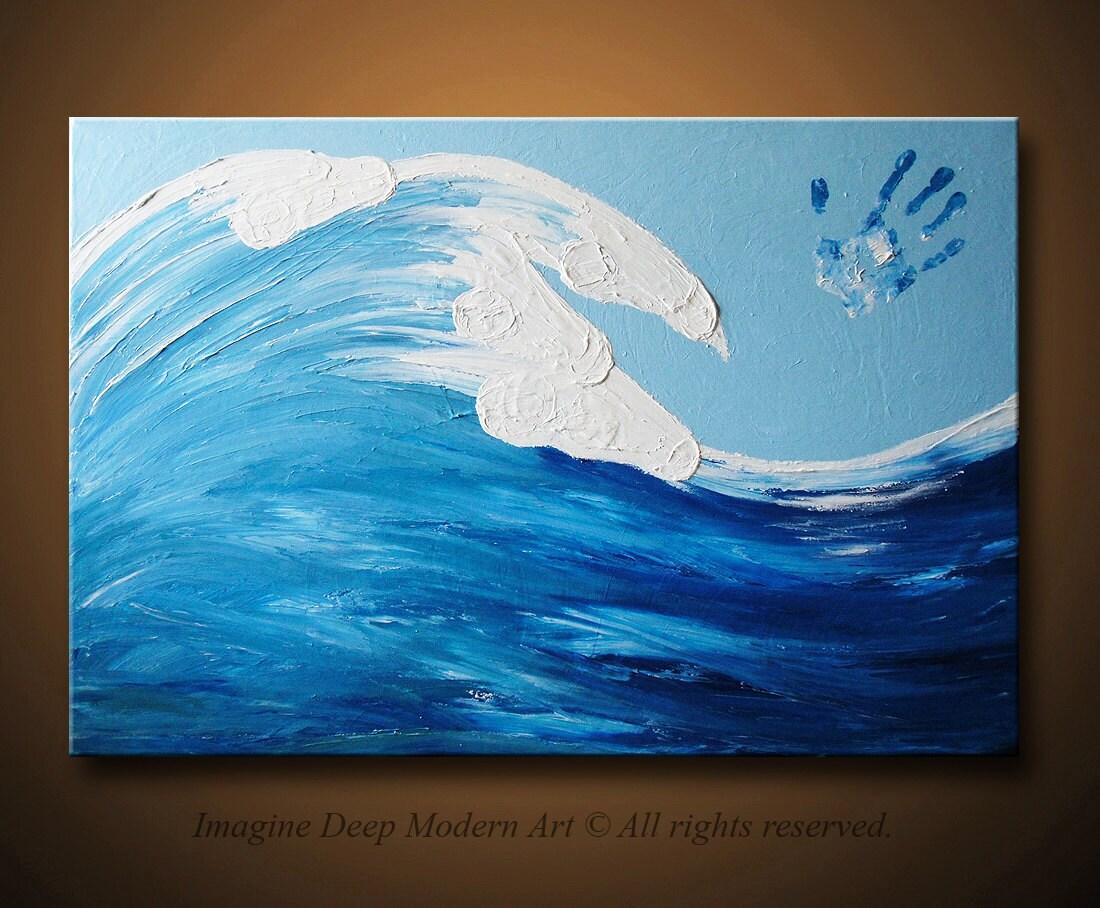 Ocean Wave Painting Blue Light Sky White Horses Large 36x24