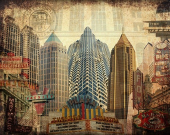Atlanta, GA // Art Print // Digital Photo Collage // 12''x16''