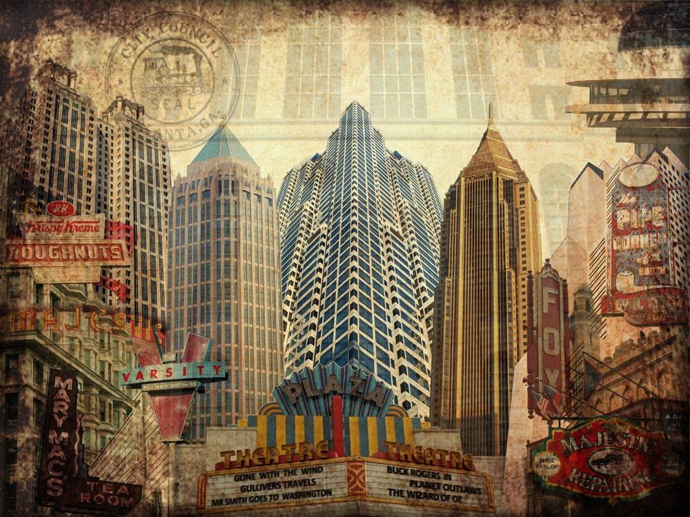 Atlanta ga art print digital photo collage for Atlanta mural artist