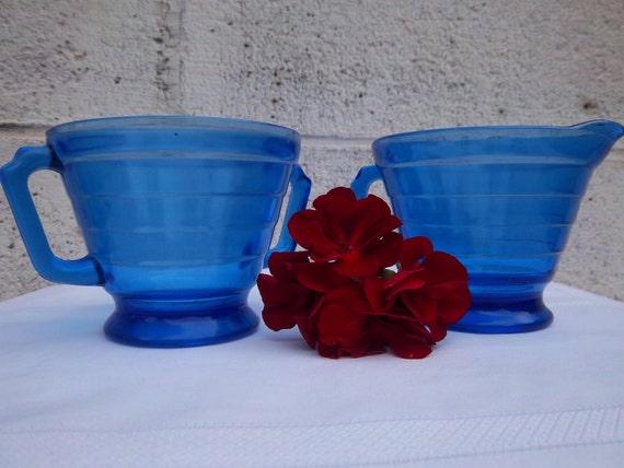 Cobalt Blue Glass Sugar and Creamer - Hazel Atlas Moderntone - Depression Glass Sugar and Creamer - Set of Two Pieces