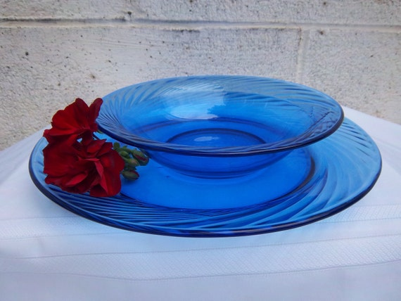 Vintage Pyrex Cobalt Blue Glass Dinnerware Set