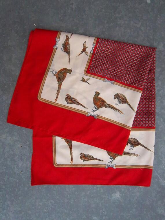 Vintage Italian Scarf with Pheasants Autumn Fashion