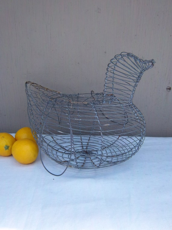 Wire Chicken Egg Basket - Metal Wire Egg Gathering Basket  - Shabby Decor for a French Farmhouse Kitchen