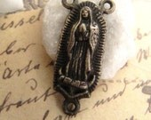 Aged Vintage Bronze Rosary Center - Our Lady of Guadalupe - 1