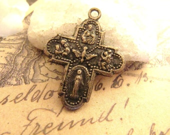 Aged Vintage Bronze Rosary Scapular Crucifix/Cross - 1