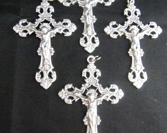 Italian Silver Large Ornate Rosary Crucifixes - set of 4