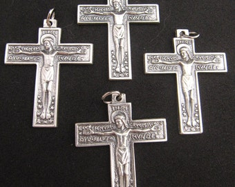Lovely Silver Florentine Rosary Crucifixes - set of 4