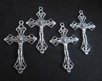 Silver Pewter Rosary Ornate Crucifixes - Vintage Style - set of 4