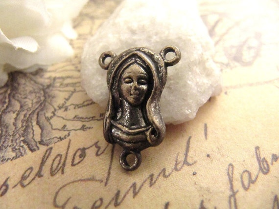 Aged Vintage Bronze Mary/Sacred Heart Rosary Center - 1
