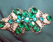 REDUCED VINTAGE STATEMENT Brooch Large and Luscious Emerald Green Glass Rhinestone Gold Tone Brooch