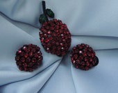 SIGNED AUSTRIA Single Brilliant Red Cherry Japanned Brooch from the 1950's - Matching Earrings
