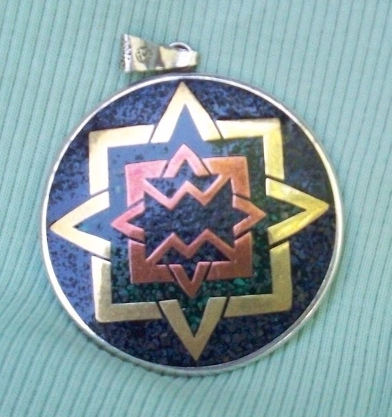 Large Vintage 2 Sided Taxco Pendant, Sterling, Stone and Mixed Metal, Signed, Eagle 3