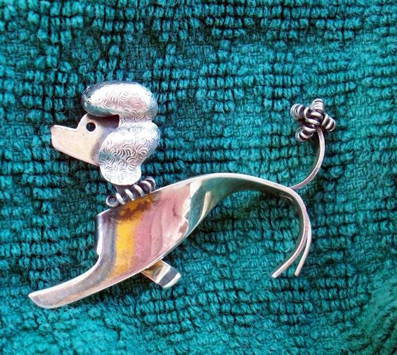 Grrrrrrrreat  Vintage Sterling Silver French Poodle Brooch - Signed Beaucraft Sterling