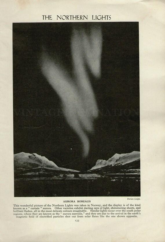 1950 The Northern Lights, Aurora Borealis, astronomy space stars, print, aurora, norway