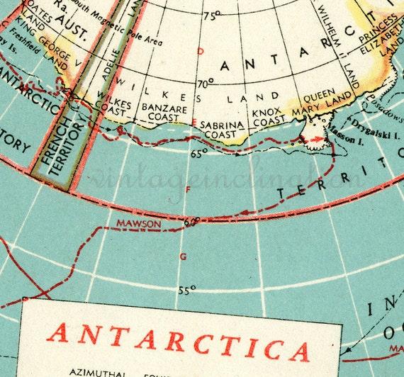 Vintage Map Antarctica and Arctic Ocean Alaska Canada Germany polar Greenland ORIGINAL 1940s