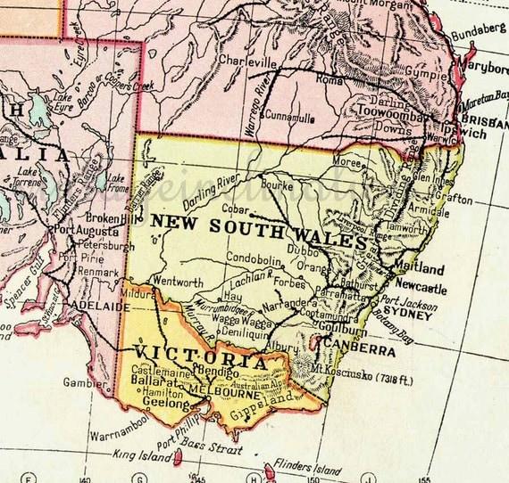 Vintage Australia map 1950 ORIGINAL, map Sydney Perth Adelaide Hobart Brisbane Melbourne, atlas map maps