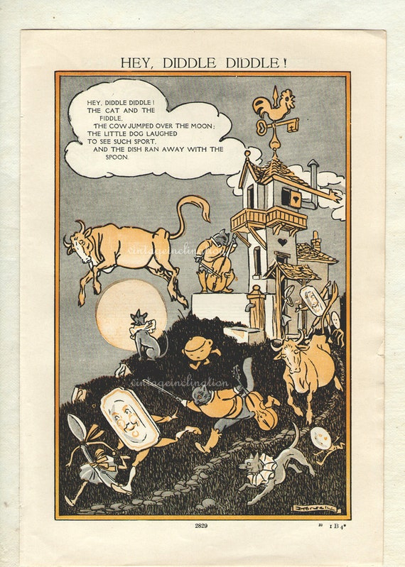 1930 Delightful Nursery Rhyme Book Plate Hey Diddle Diddle