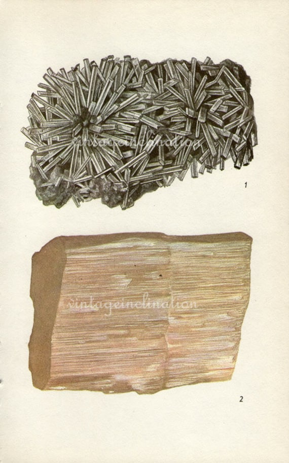 Antique Prints, 1950s  Rocks and Minerals, beautiful wall art vintage coloured illustration rocks natural science