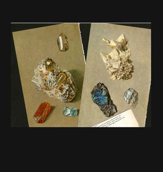 Antique Prints, 2 x Precious Stones and Minerals, beautiful wall art vintage illustration gems jewels