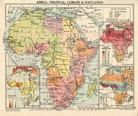 Africa Vintage 1948 ORIGINAL Political Map, vintage mid century map of Africa colour map