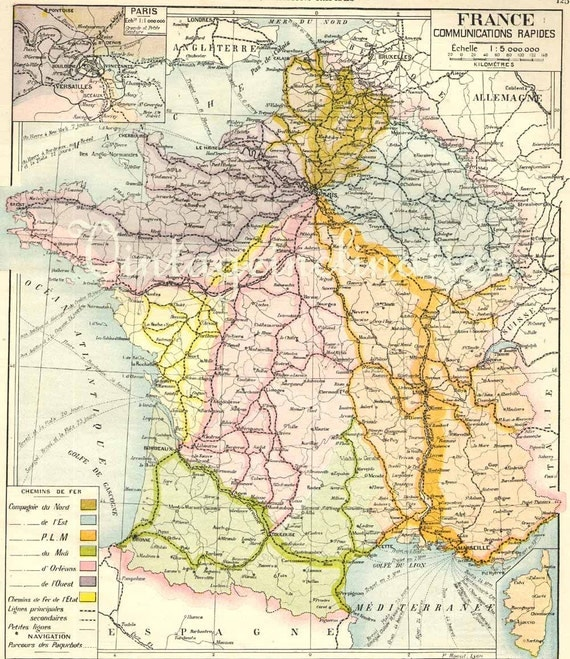 Antique French Map of FRANCE Original  map 1906