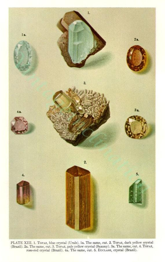 Vintage Print Gemstones, vintage precious gem stones illustrations
