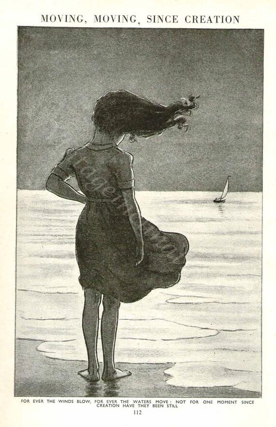 Vintage GIRL ON BEACH Print Antique seaside print coast print, bookplate art print, girl black white wall print wall art