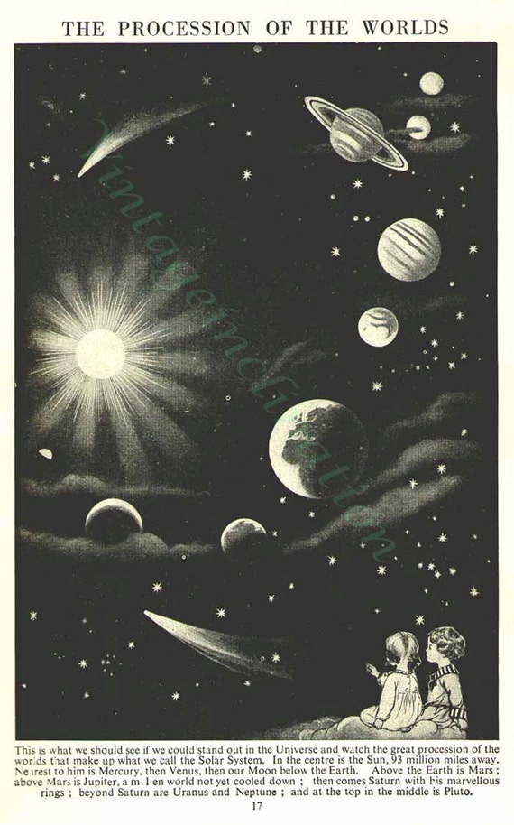 Vintage Print The Procession Of The Worlds, planets astronomy space solar system Natural History Art print