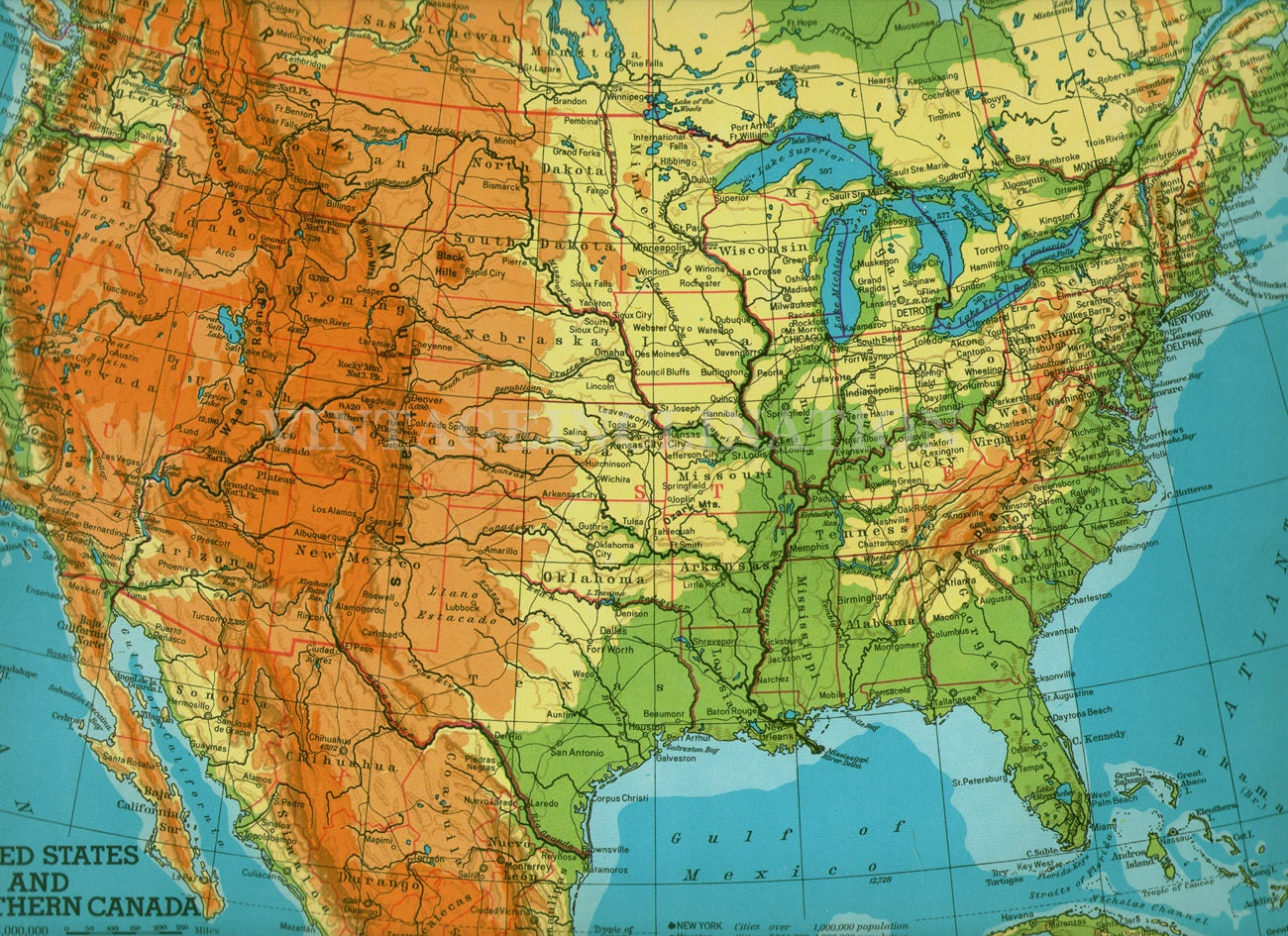 Vintage United States Map Large Us America Map Us Map Large Image
