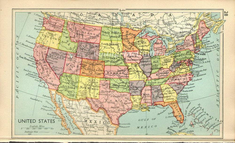Vintage Map North America United States Original 1945